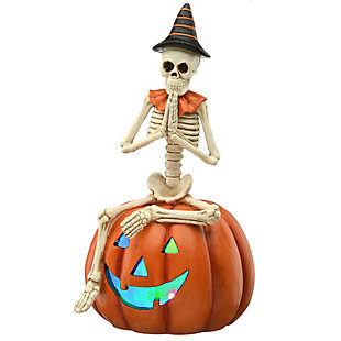 """12"""" Skeleton Sitting on Pumpkin with Battery Operated LED Light, , large"""