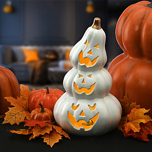 """11"""" Stacked Jack-O-Lanterns with Battery Operated LED Light, , rollover"""