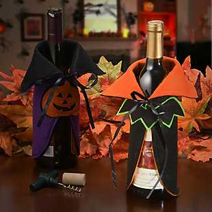 """9.5"""" Halloween Wine Bottle Cover with Cape and Bat (Set of 2), , rollover"""