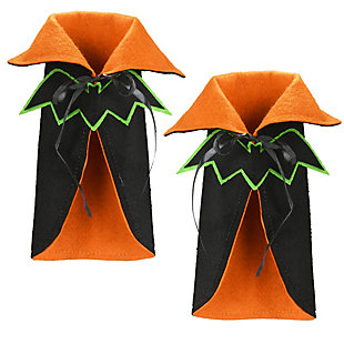 """9.5"""" Halloween Wine Bottle Cover with Cape and Bat (Set of 2), , large"""