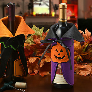 """9.5"""" Halloween Wine Bottle Cover with Cape and Pumpkin (Set of 2), , rollover"""