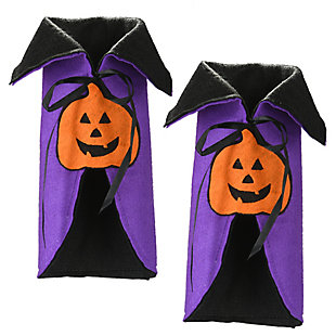 """9.5"""" Halloween Wine Bottle Cover with Cape and Pumpkin (Set of 2), , large"""