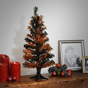 2' Black and Orange Tinsel Tree, , rollover