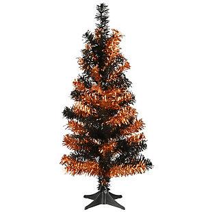 2' Black and Orange Tinsel Tree, , large