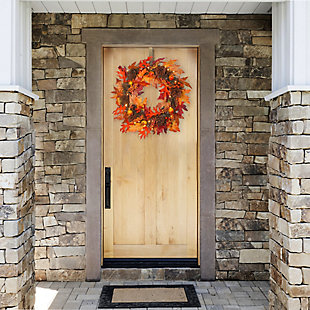 """24"""" Harvest Maple Wreath with Berries, Cones, Guave and 35 Clear Lights, , rollover"""