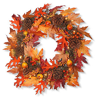 """24"""" Harvest Maple Wreath with Berries, Cones, Guave and 35 Clear Lights, , large"""