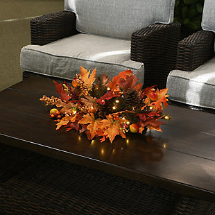 """24"""" Centerpiece with Berries, Cones, Guava and 35 Warm White Battery LED Lights, , rollover"""