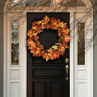 """36"""" Harvest Maple Wreath with Berries, Cones, Guava and 70 Clear Lights, , rollover"""