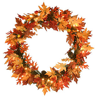 """36"""" Harvest Maple Wreath with Berries, Cones, Guava and 70 Clear Lights, , large"""