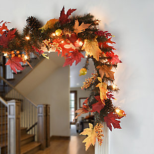 6ft. Harvest Maple Garland with Berries, Cones, Guava and 35 Clear Lights, , rollover