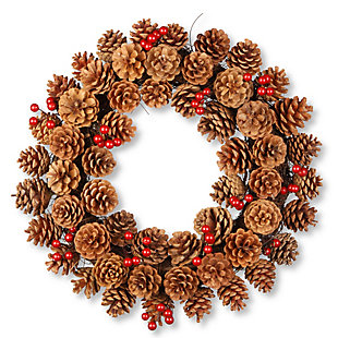 """20"""" Cones and Berry Wreath, , large"""