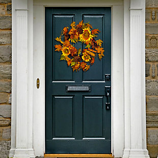 """24"""" Maple Leaf and Sunflower Wreath, , rollover"""