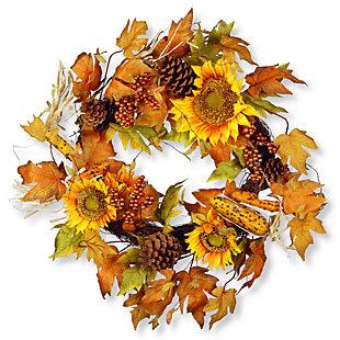 "24"" Maple Leaf and Sunflower Wreath, , large"