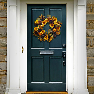 """22"""" Wreath with Pumpkins and Sunflowers, , rollover"""