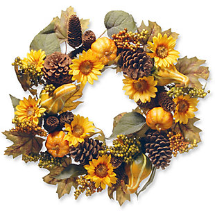 """22"""" Wreath with Pumpkins and Sunflowers, , large"""