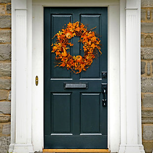 """28"""" Maple Leaf and Pumpkins Wreath, , rollover"""