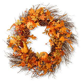 "28"" Maple Leaf and Pumpkins Wreath, , large"