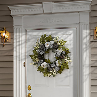 """30"""" Harvest Mixed Leaves and Ribbons Wreath with Pinecones, , rollover"""
