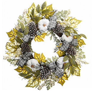 """30"""" Harvest Mixed Leaves and Ribbons Wreath with Pinecones, , large"""