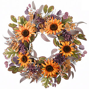 "30"" Harvest Sunflowers and Hydrangeas Wreath, , large"