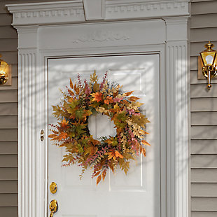 """30"""" Harvest Maple and Eucalyptus Leaves Wreath, , rollover"""