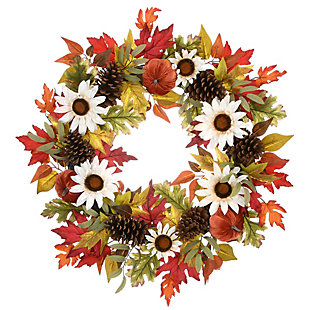 """32"""" Harvest Sunflowers and Pumpkins Wreath with Pinecones, , large"""