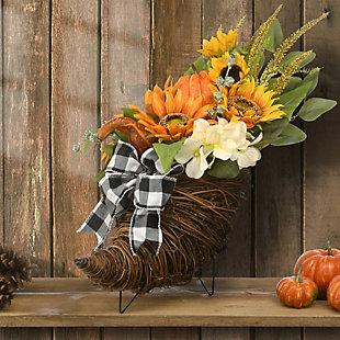 "20"" Harvest Sunflower Cornucopia with Sunflowers, , rollover"