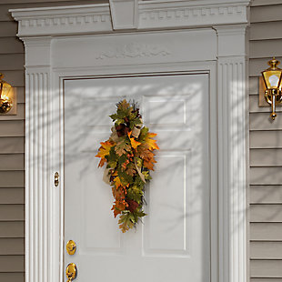 """30"""" Harvest Maple Leaves Teardrop Decor with Bow, , rollover"""