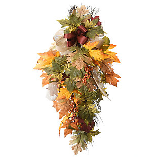 """30"""" Harvest Maple Leaves Teardrop Decor with Bow, , large"""