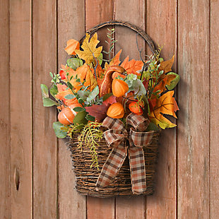 """15"""" Harvest Wall Basket Decor with Bow, , rollover"""