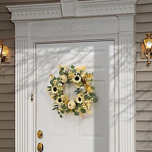 """23"""" Harvest Ivory Sunflowers Wreath with Pumpkins, , rollover"""