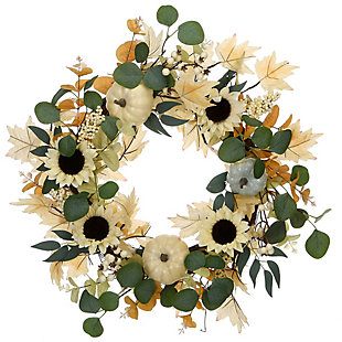 """23"""" Harvest Ivory Sunflowers Wreath with Pumpkins, , large"""