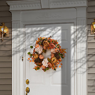 """22"""" Harvest Peony and Hydrangea Wreath with Pumpkins, , rollover"""