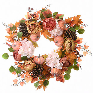 """22"""" Harvest Peony and Hydrangea Wreath with Pumpkins, , large"""