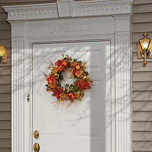 """22"""" Harvest Daisy and Hydrangea Wreath with Berries, , rollover"""