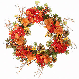"""22"""" Harvest Daisy and Hydrangea Wreath with Berries, , large"""