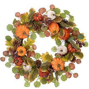 "22"" Harvest Eucalyptus Wreath with Pumpkins, , large"