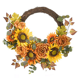 """22"""" Harvest Daisy and Rose Wreath with Eucalyptus, , large"""