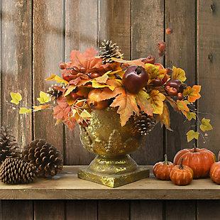 "16"" Harvest Maple Leaves Urn Filler with Pomegranates, , rollover"