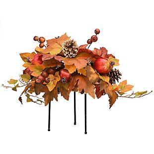 "16"" Harvest Maple Leaves Urn Filler with Pomegranates, , large"