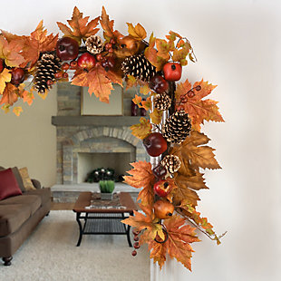 6 ft. Harvest Maple Leaves Garland with Pomegranates, , rollover