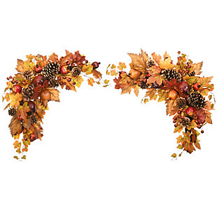 """30"""" Harvest Maple Leaves Corner Swags with Pomegranates, , large"""