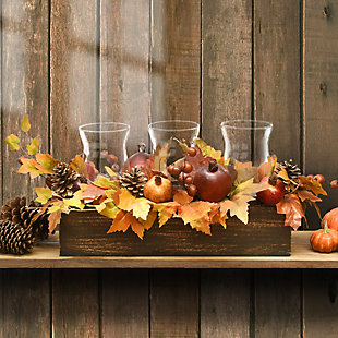 """24"""" Maple Leaves Candleholder Centerpiece with Pomegranates, , rollover"""