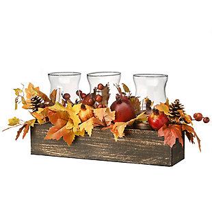 "24"" Maple Leaves Candleholder Centerpiece with Pomegranates, , large"
