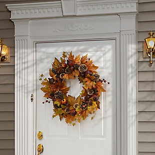 """26"""" Harvest Maple Leaves Wreath with Pomegranates, , rollover"""
