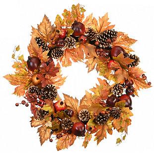 "26"" Harvest Maple Leaves Wreath with Pomegranates, , large"