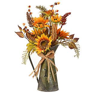 """22"""" Harvest Flower Filled Metal Teapot, , large"""
