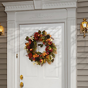 """22"""" Harvest Mums and Maple Leaves Wreath with Apples, , rollover"""