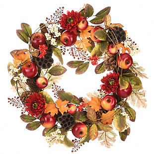 """22"""" Harvest Mums and Maple Leaves Wreath with Apples, , large"""