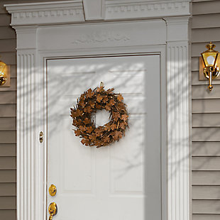 """18"""" Harvest Brown Maple Leaves Wreath on Branch Base, , rollover"""